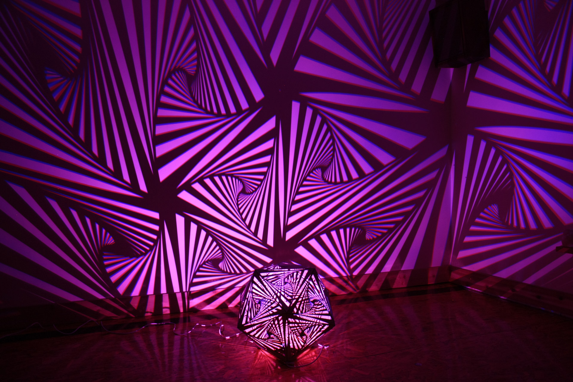 Icosahedron Spirals Light Artwork