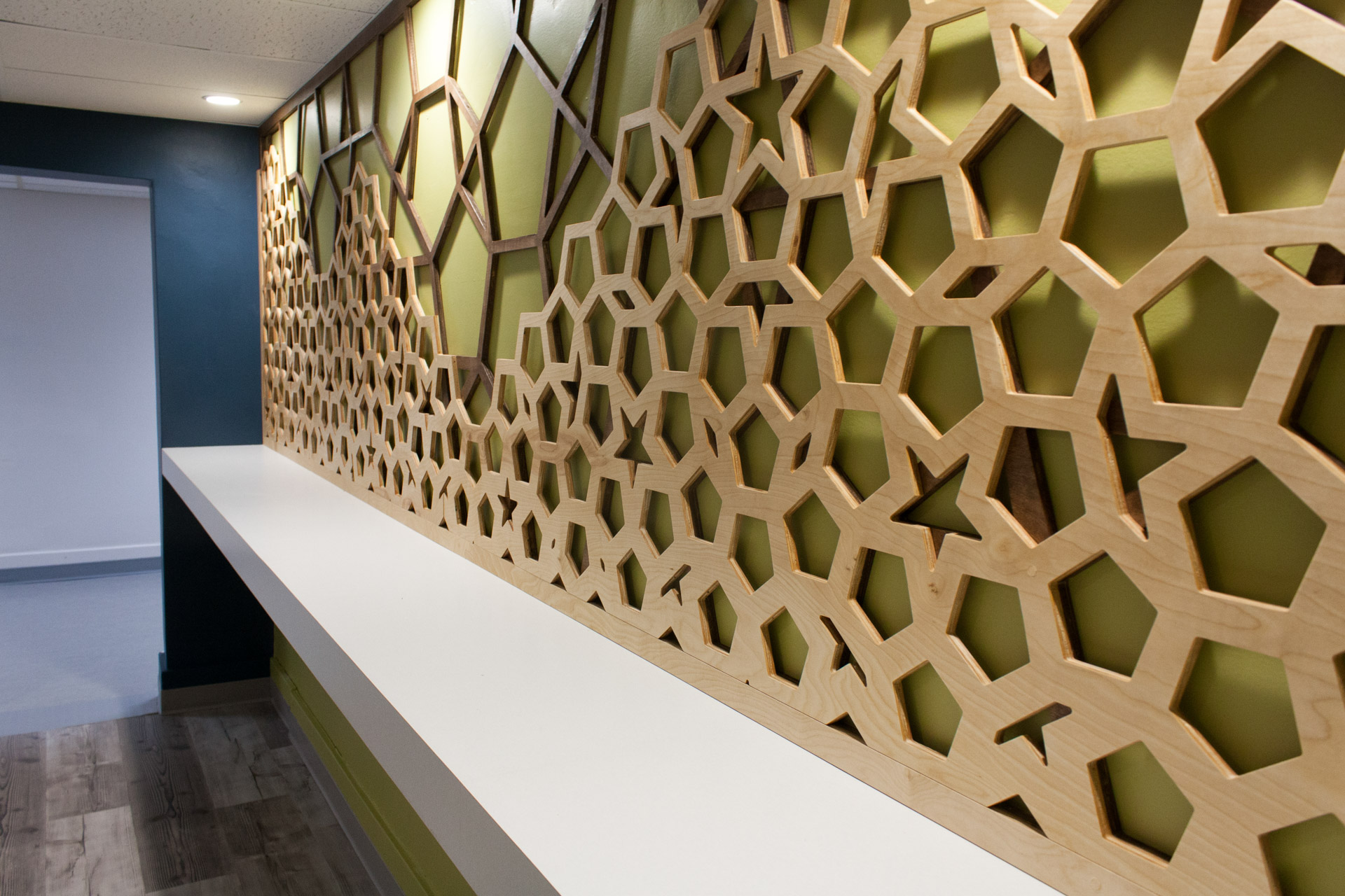 Geometric Wood Mural CNC cut