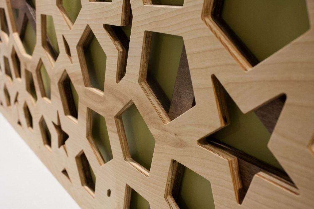Ant1 Geometric Wood Mural CNC cut